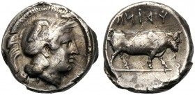 Campania, Didrachm, Hyria, c. 405-385 BC AR (g 7,55 mm 18 h 2) Head of Athena r., wearing crested Attic helmet, decorated with a laurel wreath and owl...