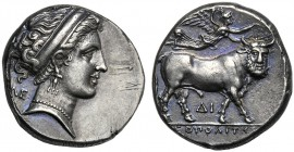 Campania, Didrachm, Neapolis, c. 320-300 BC AR (g 7,49 mm 19 h 2) Head of nymph r., wearing diadem, earring and necklace at l., ΛE Rv. NEOΠOΛITHΣ, man...