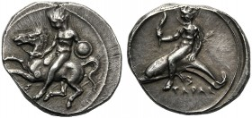 Apulia, Nomos, Tarentum, c. 425-380 BC AR (g 7,99 mm 21 h 4) Horseman, holding shield, dismounting from horse prancing l., below, Σ, Rv. TAPAΣ, oecist...
