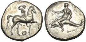 Apulia, Nomos, Tarentum, c. 332-302 BC AR (g 7,47 mm 22 h 9) Ephebe advancing r., crowning himself below ΣA and capital, Rv. TAPAΣ, oecist riding dolp...