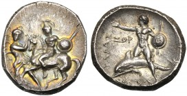 Apulia, Nomos, Tarentum, c. 302-280 BC AR (g 7,97 mm 22 h 3) Horseman galloping l., holding spear and shield at l., Nike standing r. retraining horse,...