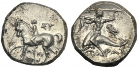 Apulia, Nomos, Tarentum, magistrates Lykonos and Su-, c. 280-272 BC AR (g 6,33 mm 17 h 8) Youth riding l., crowning horse at r., ΣY, below, ΛYKI/NOΣ, ...