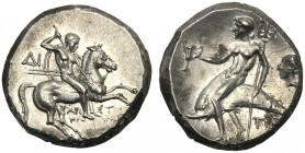Apulia, Nomos, Tarentum, magistrates Aristokles and Di -, c. 272-240 BC AR (g 6,51 mm 17 h 9) Warrior galloping r., holding shield and spears at l. ΔI...