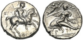 Apulia, Nomos, Tarentum, c. 272-240 BC AR (g 6,30 mm 19 h 9 Horseman galloping r., holding shield and spear at l., ΘI, below, APIΣTOK, Rv. TAPAΣ, ecis...