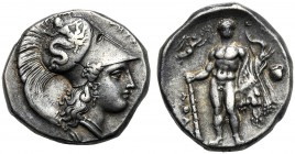 Lucania, Stater, Herakleia, c. 340-300 BC AR (g 7,88 mm 20 h 9) |-HPAKΛHIΩN, head of Athena r., wearing Corinthian helmet, decorated with Skylla hurli...