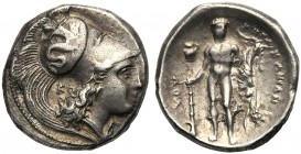 Lucania, Stater, Herakleia, c. 340-300 BC AR (g 7,78 mm 20 h 11) [|-HPAKΛHIΩN], head of Athena r., wearing Corinthian helmet, decorated with Skylla hu...