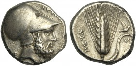 Lucania, Stater, Metapontion, c. 340-330 BC AR (g 7,73 mm 20 h 4) Head of Leukippos r., wearing Corinthian helmet at r., ΛΕΥΚΙΠΠΟΣ, at l., dog seated ...