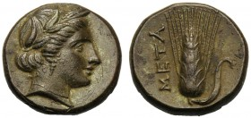 Lucania, Bronze, Metapontion, c. 300-250 BC AE (g 3,10 mm 13 h 12) Head of Demeter r., wearing barley-wreath and pendant earring, Rv. META, barley-ear...