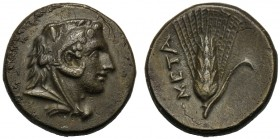 Lucania, Bronze, Metapontion, c. 300-250 BC AE (g 2,91 mm 15 h 6) Head of Herakles r., beardless and wearing lion-skin, Rv. META, barley-ear with leaf...
