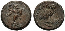 Lucania, Bronze, Metapontion, c. 300-250 BC AE (g 3,79 mm 15 h 6) Athena Alkidemos r., carrying shield and thunderbolt dotted border, Rv. META, owl st...