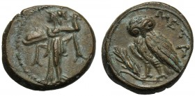Lucania, Bronze, Metapontion, c. 300-250 BC AE (g 3,13 mm 15 h 8) Athena Alkidemos l., brandishing thunderbolt and carrying shield dotted border, Rv. ...