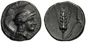 Lucania, Drachm, Metapontion, Issue for the Lucani, c. 280-270 BC AR (g 3,13 mm 15 h 7) Head of Athena r., wearing winged Attic helmet, dotted border,...