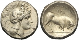 Lucania, Distater (HPA group), Thourioi, c. 350-300 BC AR (g 15,72 mm 25 h 11) Head of Athena r., wearing crested Attic helmet, decorated with Skylla ...