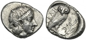Lucania, Drachm, Velia, c. 465-440 BC AR (g 3,92 mm 17 h 11) Head of nymph r., wearing hair band, Rv. YEΛH, owl standing r., with wings closed, on oli...