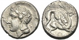 Lucania, Didrachm, Velia, c. 440-400 BC AR (g 7,63 mm 20 h 3) Head of Athena l., wearing crested Attic helmet, decorated with wreath and griffin, Rv. ...