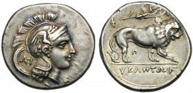 Lucania, Didrachm, Velia, c. 300-280 BC AR (g 7,52 mm 22 h 10) Head of Athena r., wearing Attic helmet wing on wreath at l., monogr., below the chin, ...