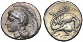 Lucania, Didrachm, Velia, c. 280 BC AR (g 7,37 mm 20 h 11) Head of Athena l. wearing Attic helmet decorated with Pegasos and a palmettae above, A, at ...
