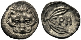 Bruttium, Litra, Rhegion, c. 415-387 BC AR (g 0,57 mm 10 h 2) Facing lion's head dotted border, Rv. PH between two leaves of olive-sprig, dotted borde...