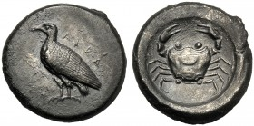 Sicily, Didrachm, Akragas, c. 500-495 BC AR (g 8,36 mm 20 10) AKRA, eagle standing l., with wings closed, Rv. Crab all within incuse area. SNG Copenha...