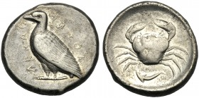 Sicily, Tetradrachm, Akragas, c. 470-420 BC AR (g 17,50 mm 25 h 10) AKPAC-ACANTOΣ (retr.), eagle standing l., Rv. Crab within incuse square below, dol...