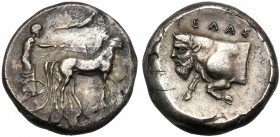 Sicily, Tetradrachm, Gela, c. 420-415 BC AR (g 16,67 mm 24 h 1) Charioteer driving slow quadriga r., above, flying Nike crowning horses, Rv. ΓΕΛΑΣ, fo...