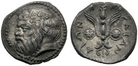 Sicily, Litra, Katane, c. 461-413 BC AR (g 0,80 mm 11 h 6) Head of Silenos l., wearing ivy wreath at r., Π, dotted border, Rv. KATANAIΩN, winged thund...