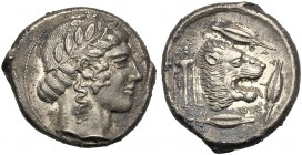 Sicily, Tetradrachm, Leontinoi, c. 460-450 BC AR (g 16,65 mm 16 h 9) Laureate head of Apollo r. dotted border, Rv. ΛEONTINON, head of lion r. with ope...