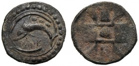 Sicily, Tetras (?), Messana (as Zankle), c. 520-510 BC AR (g 0,24 mm 7 h 10) DANK, dolphin l. above, three pellets, around linear circle and dotted bo...