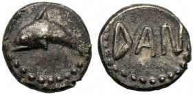 Sicily, Litra, Messana (as Zankle), c. 461 BC AR (g 0,75 mm 8 h 3) Dolphin l. dotted border, Rv. DAN dotted border. Caltabiano 295 SNG Copenhagen - SN...