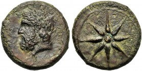 Sicily, Timoleon (344-336), Dilitron, Syracuse, c. 344-336 BC AE (g 29,04 mm 30 h -) ZEYΣ EΛEYΘEPIOΣ, laureate and bearded head of Zeus Eleutherios l....