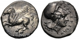 Sicily, Timoleon and Third Democracy (344-317), Stater, Syracuse, c. 344-317 BC AR (g 8,11 mm 20 h 6) Pegasos flying l., Rv. ΣYPAKOΣION, head of Athen...