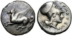 Sicily, Timoleon and Third Democracy (344-317), Stater, Syracuse, c. 344-317 BC AR (g 8,23 mm 20 h 1) Pegasos flying l., Rv. ΣYPAKOΣION, head of Athen...