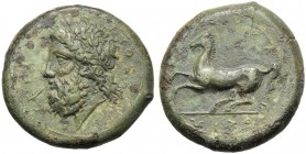 Sicily, Timoleon and Third Democracy (344-317), Dilitron, Syracuse, c. 344-317 BC AE (g 18,06 mm 28 h 9) ZEYΣ EΛEYΘEPIOΣ, bearded and laureate head of...