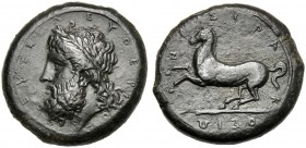 Sicily, Timoleon and Third Democracy (344-317), Dilitron, Syracuse, c. 344-317 BC AE (g 18,86 mm 25 h 3) ZEYΣ EΛEYΘEPIOΣ, bearded and laureate head of...