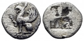 THRACE. Abdera. Circa 475-450 BC. Obol (Silver, 9 mm, 0.59 g). Forepart of a griffin to left, right paw raised. Rev. Quadripartite incuse square. May,...