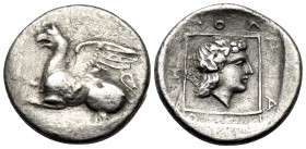 THRACE. Abdera. Circa 395-360 BC. Tetrobol (Silver, 15.5 mm, 2.32 g, 1 h), struck under the magistrate Molpagores. Griffin springing left with both fo...