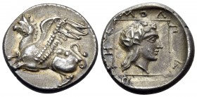 THRACE. Abdera. Circa 395-360 BC. Tetrobol (Silver, 15 mm, 2.84 g, 2 h), struck under the magistrate Molpagores. Griffin springing to left with both f...