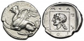 THRACE. Abdera. Circa 395-360 BC. Tetrobol (Silver, 15 mm, 2.84 g, 11 h), struck under the magistrate Molpagores. Griffin springing left with both for...