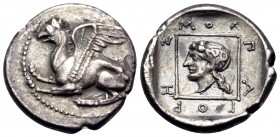 THRACE. Abdera. Circa 395-360 BC. Tetrobol (Silver, 15 mm, 2.79 g, 4 h), struck under the magistrate Molpagores. Griffin springing to left with both f...