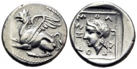 THRACE. Abdera. Circa 395-360 BC. Tetrobol (Silver, 15.5 mm, 2.88 g, 12 h), struck under the magistrate Molpagores. Griffin springing left with both f...