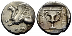THRACE. Abdera. Circa 365/0-350/45 BC. Tetrobol (Silver, 14 mm, 2.88 g, 1 h), struck under the magistrate Iromnemos. AB[Δ] Griffin atop Ionic column s...
