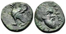 THRACE. Abdera. Circa 395-360 BC. AE (Bronze, 12.5 mm, 1.60 g, 9 h), struck under the magistrate Kleantides. Griffin seated to left, raising right for...
