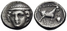 THRACE. Ainos. Circa 396/5- 394/3 BC. Tetrobol (Silver, 13 mm, 2.49 g, 12 h). Head of Hermes facing, turned very slightly to left, wearing petasos. Re...