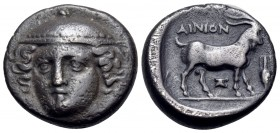 THRACE. Ainos. Circa 402/1-400/399 BC. Tetrobol (Silver, 13 mm, 2.44 g, 12 h). Head of Hermes facing, turned very slightly to left, wearing petasos. R...