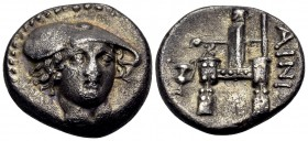 THRACE. Ainos. Circa 357-342/1 BC. Drachm (Silver, 16 mm, 3.80 g, 12 h). Head of Hermes facing, turned slightly to right, wearing a flat petasos with ...