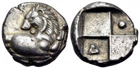 THRACE. Chersonesos. Circa 386-338 BC. Hemidrachm (Silver, 13 mm, 2.48 g, 4 h). Forepart of a lion to right, his head turned back to left. Rev. Quadri...