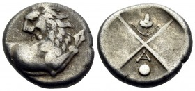 THRACE. Chersonesos. Circa 386-338 BC. Hemidrachm (Silver, 13 mm, 2.29 g, 6 h). Forepart of a lion to right, his head turned back to left. Rev. Quadri...