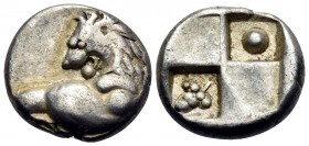 THRACE. Chersonesos. Circa 386-338 BC. Hemidrachm (Silver, 12 mm, 2.33 g, 8 h). Forepart of a lion to right, his head turned back to left. Rev. Quadri...
