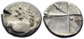 THRACE. Chersonesos. Circa 386-338 BC. Hemidrachm (Silver, 13.5 mm, 2.32 g, 5 h). Forepart of a lion to right, his head turned back to left. Rev. Quad...