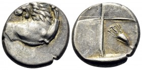 THRACE. Chersonesos. Circa 386-338 BC. Hemidrachm (Silver, 14 mm, 2.41 g, 3 h). Forepart of a lion to right, his head turned back to left. Rev. Quadri...
